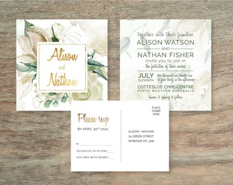 2 Piece Green Floral Watercolour Wedding Invitation Suite - Print at Home Files or Printed Invitations - Watercolor Invitation and RSVP Card