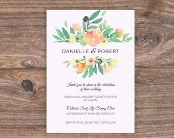 Watercolour Wedding Invitation - Print At Home File or Printed Invitations - Personalised Floral Watercolor Wedding Invite