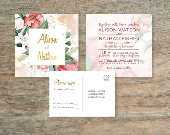2 Piece Pink Floral Watercolour Wedding Invitation Suite - Print at Home Files or Printed Invitations - Watercolor Invitation and RSVP Card