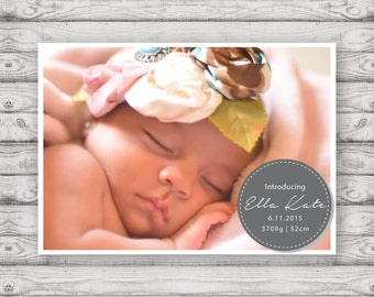 Birth Announcement Cards - Print At Home File or Printed Cards - Personalised Baby Announcement Cards - Folded Card or Postcard Design