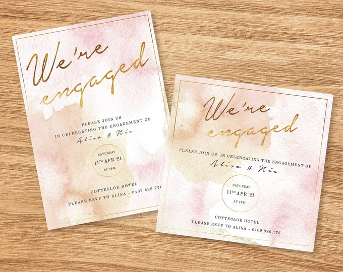 Rose Pink and Gold Watercolour Wedding Invitation - Print At Home File or Printed Invitations - Personalised Watercolor Engagement Invite