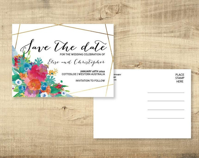 Personalised Watercolour Save The Date Postcard - Print at Home File or Printed Cards - Floral Watercolor Save The Date Invite Card