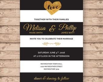 Modern Wedding Invitation - Print At Home File or Printed Invitations - Black White and Gold Stripe Personalised Wedding Invite