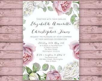 Floral Wedding Invitation - Print At Home File or Printed Invitations - Pink White Roses Personalised Watercolor Wedding Invite - Rustic