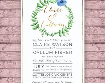 Classic Wedding Invitation - Print at Home File or Printed Invitations - Modern Floral Wreath Watercolour Wedding Invite - Watercolor Design