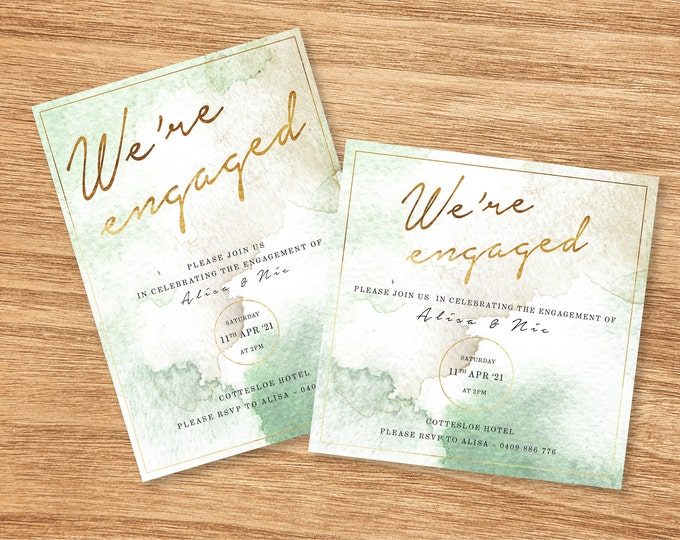 Green and Gold Watercolour Engagement Invitation - Print At Home File or Printed Invitations - Personalised Watercolor Engagement Invite