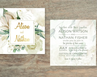 Watercolour Double-sided Wedding Invite - Print at Home File or Printed Cards - Floral Watercolor Square Wedding Invitation