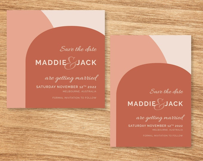 Rose Pink and Terracotta Modern Save The Date Cards - Print At Home File or Printed Invitations - Personalised Minimalist Save the Date