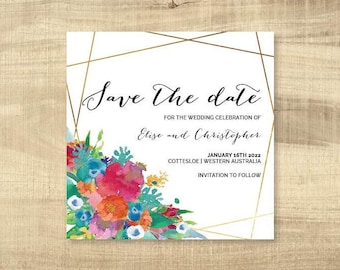 Floral Watercolour Save The Date Card - Print at Home File or Printed Cards - Pink Gold Watercolor Save The Date Invite Card