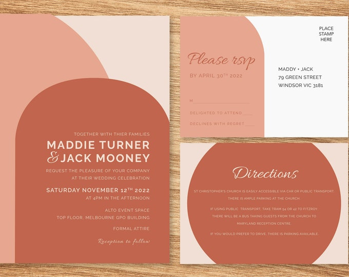 Terracotta and Pink Archway Wedding Invitation Suite - Print at Home Files or Printed Invitations - Wedding Stationery  - Modern Minimalist