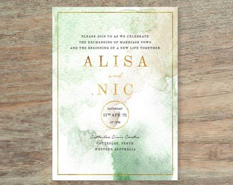 Green and Gold Watercolour Wedding Invitation - Print At Home File or Printed Invitations - Personalised Watercolor Wedding Invite