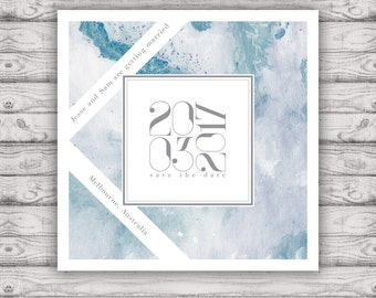 Marble Blue Save The Date Card - Print at Home File or Printed Cards - Blue Marble Watercolor Circle Save The Date Invite