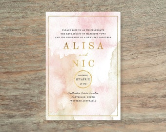 Blush Pink and Gold Watercolour Wedding Invitation - Print At Home File or Printed Invitations - Personalised Watercolor Wedding Invite
