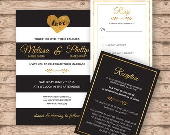 Modern Wedding Invitation Suite - Print at Home Files or Printed Invitations - Black White Gold Personalised Wedding Invite Suite