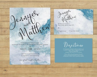 Marble Watercolour Wedding Invitation Suite - Print at Home Files or Printed Invitations - Blue Wedding Stationery  - Watercolor