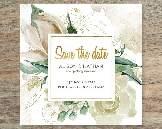 Floral Watercolour Save The Date Card - Print at Home File or Printed Cards - Green Gold Watercolor Save The Date Invite Card