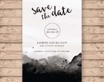 Watercolour Wedding Save the Date Card - Print At Home File or Printed Invitations - Faded Watercolour - Save the date card
