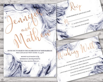 Marble Wedding Invitation Suite - Print at Home Files or Printed Invitations - Marble Navy Rose Gold Personalised Wedding Invite Suite