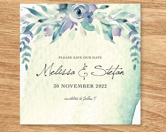 Pretty Forest Floral Watercolour Save The Date Card - Print at Home File or Printed Cards - Blue Green Watercolor Save The Date Invite