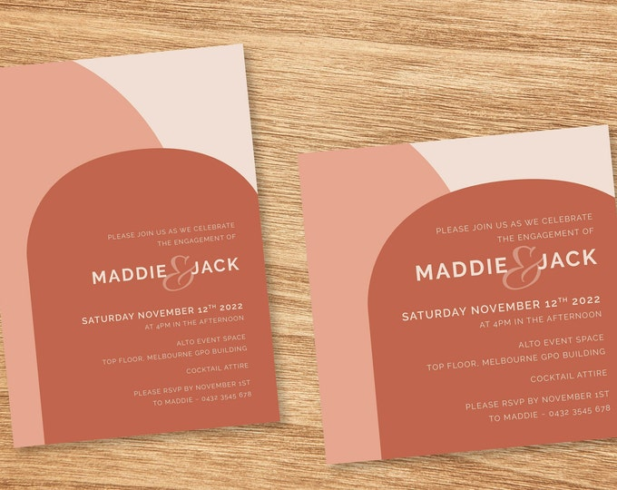 Rose Pink and Terracotta Modern Wedding Invitation - Print At Home File or Printed Invitations - Personalised Minimalist Engagement Invite
