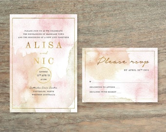 2 Piece Pink Watercolour Wedding Invitation Suite - Print at Home Files or Printed Invitations - Watercolor Invitation and RSVP Postcard
