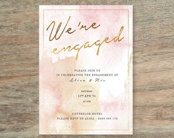 Watercolour Engagement Invitation - Print At Home File or Printed Invitations - Watercolor Personalised Berry Engagement Invite - Rose Blush