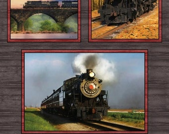 On The Rails, Steam train Panel  100% cotton quilting fabric