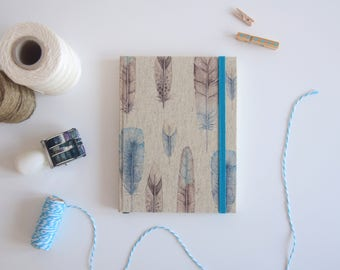 A6+ BOHO Handmade Notebook - Original Size Blanc Notebook - Diary - Feathers