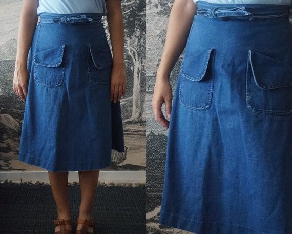 Vintage JAG Denim Wrap Apron Skirt 1970s  Small to