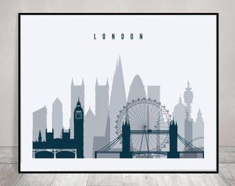 London wall art print, London skyline, travel gift, poster, cityscape art, travel decor, wall decor, ArtPrintsVicky