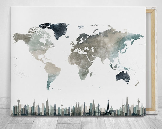 World map wall art canvas print with skylines by ArPrintsVicky