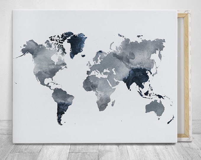 World map canvas art print in grey blue tones by ArPrintsVicky