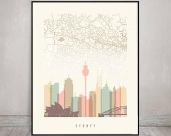 Sydney map print, Sydney skyline Poster, Sydney art, Travel gift, Wall art, City print, Typography art, Home Decor, Gift, ArtPrintsVicky