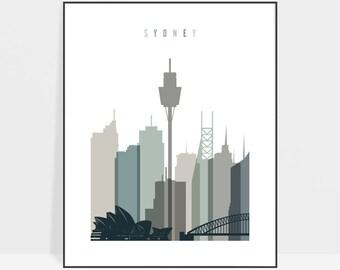 Sydney Skyline Australia City Sunset Box Framed CANVAS WALL ART Picture Print