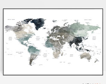 World Map Print World map print | Etsy