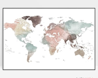 World map decor etsy world map world map art poster large world map print world map wall art travel map detailed map home decor gift decor artprintsvicky gumiabroncs Images