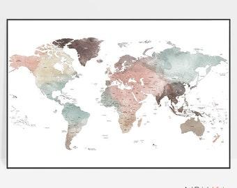 World map wall art | Etsy on
