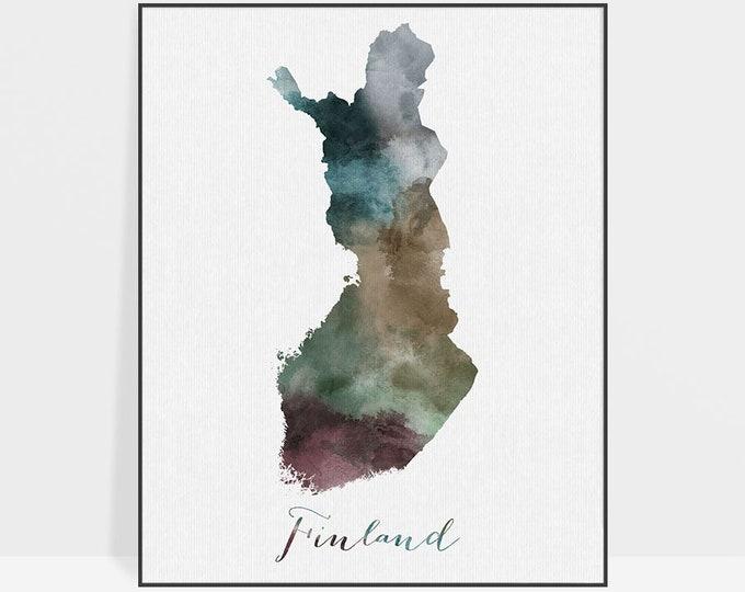 Finland watercolor map, Finland Wall art, Travel print, Finland map poster, Finland watercolor print, Fine art prints, ArtPrintsVicky.
