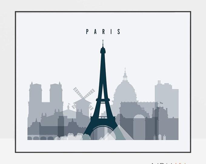 Paris wall art print, Paris skyline, Paris poster, Travel decor, France, cityscape art, Gift, Home decor, Wall decor, ArtPrintsVicky