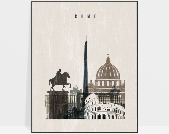 Rome poster, Rome skyline, Rome art print, Wall art, Travel decor, Distressed art, Italy, City prints, Gift, Home Decor, ArtPrintsVicky