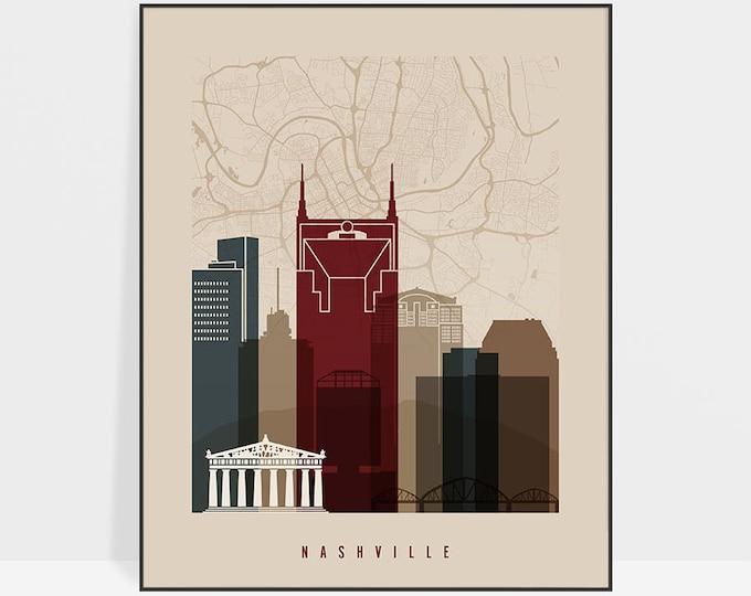 Nashville map print, Nashville map poster, Nashville skyline, Nashville wall art, City maps, Travel decor, Home Decor, Gift, ArtPrintsVicky
