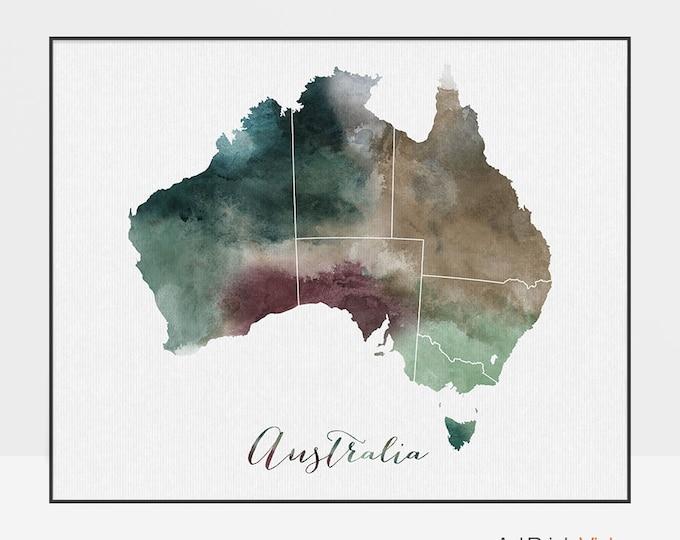 Australia watercolor map, Australia Wall art, Australia map poster, Australia watercolor print Typography art Fine art prints ArtPrintsVicky