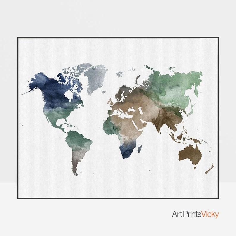 World map poster, large world map art, world map wall art, world map decor,  World map print, Travel art, Gift decor, ArtPrintsVicky
