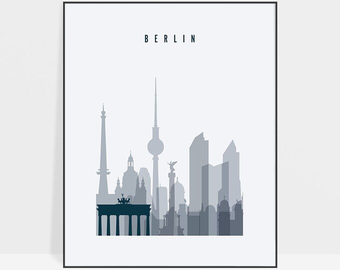 Berlin poster, print, Berlin skyline, Berlin art, Wall art, Germany cityscape, Travel decor, Home Decor, Housewarming gift, ArtPrintsVicky