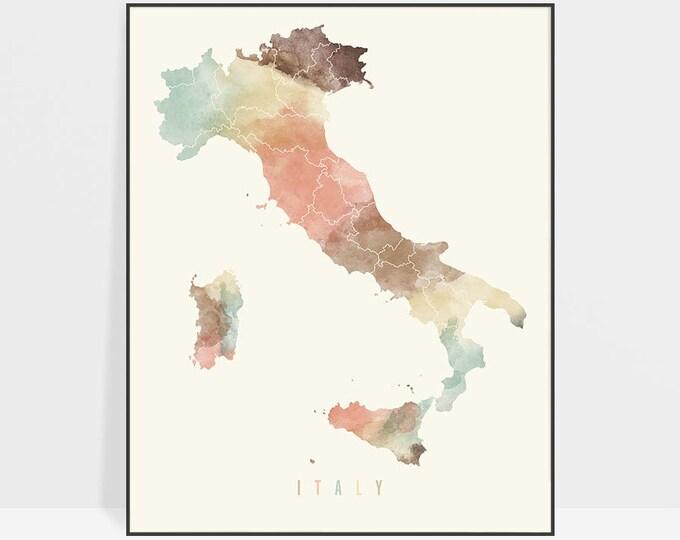 Italy map, watercolor print, Italy map poster, Wall art, Italy map print pastel, Travel decor, Gift, Office decor, Home Decor ArtPrintsVicky