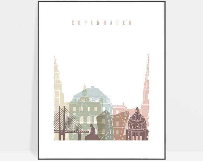 Copenhagen poster, wall art print, Copenhagen Skyline, Denmark art, Travel poster, City print, Housewarming gift, Home Decor, ArtPrintsVicky