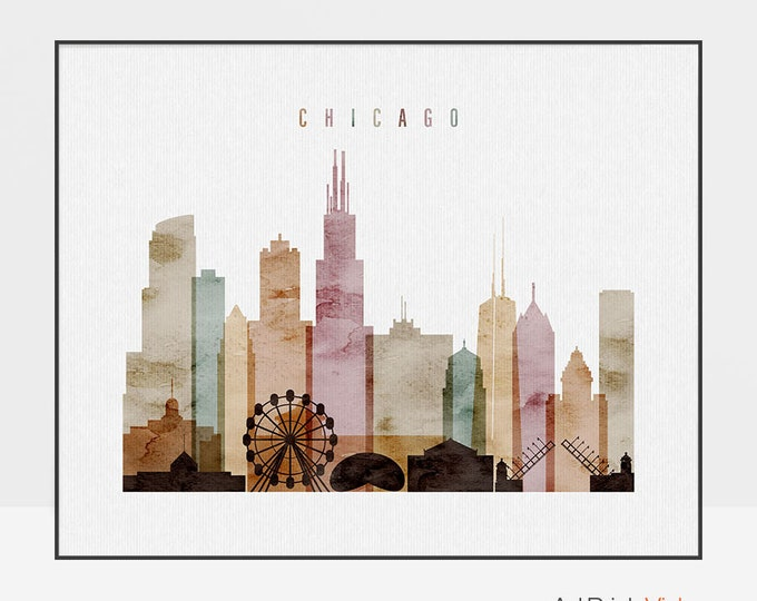 Chicago skyline, Chicago art print, watercolor, Chicago poster, Chicago wall art, Illinois, Gift, Travel decor, home decor, ArtPrintsVicky.