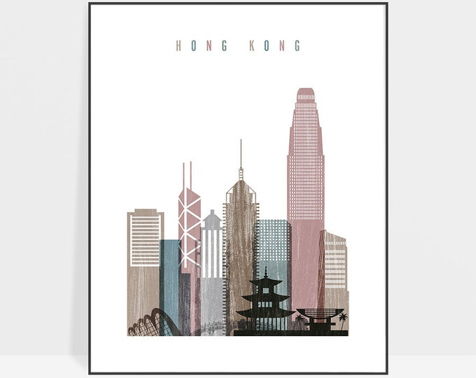 Hong Kong skyline, Hong Kong print, poster, Hong Kong skyline, Travel decor, wall art, Housewarming gift, Home Decor, ArtPrintsVicky
