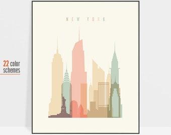 New York print, New York City skyline poster, New york travel poster, New York Art, Gift, ArtPrintsVicky