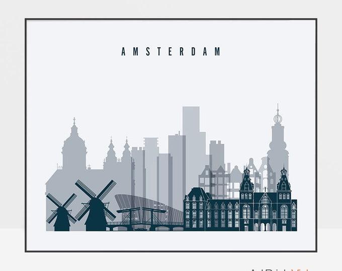 Amsterdam art print, Poster, Travel Gift, Wall art, Amsterdam skyline, City poster, Netherlands art, Gift, Home Decor, ArtPrintsVicky